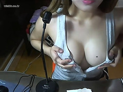 Hard Asian nipples showing on webcam