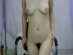 Asian girl striptease on webcam