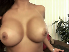 This hot latina brunette has a perfect pair of big natural tits, as you would expect from such a hottie. She loves to tease with them as much as she can, knowing that you wank your wood on it.