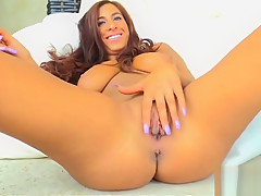 Hot natural big tit redhead babe Stacy fuck her pussy with large vibrator outside