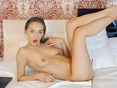 Very young small girl with tight wet pussy fingering on webcam