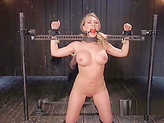 Busty blonde sub in grueling bondage devices
