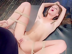 Brunette slave in bondage rough banged