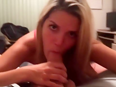 Blonde Gf In Pink Skirt With Her Tits Out Gives Pov Blowjob