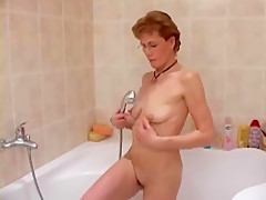 Mature bathroom pee and shave
