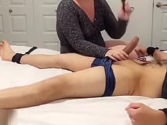 Ballbusting to 2 ruined orgasm ( massive cumshot and humiliating)