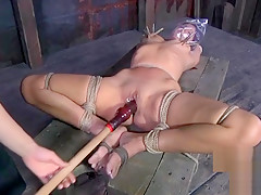 Mistress bagging a beautiful girl in her dungeon - Femdom Porn