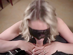 Bratty blonde gives a fathers day blow job