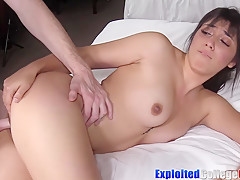 Brunette coed Veronica fucked hard before cum shower