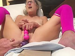 Vibrator Masturbation Pink Leggings Glass Milf Granny Mature Spread Wide