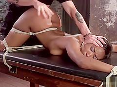 Hogtied big booty ebony spanked