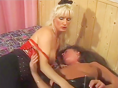 mature sub Mommy anally toyed by invited busty Mistress