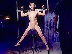 Sub whipped and toyed in dark dungeon