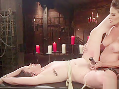 Mistress rides anal strap on on her sub