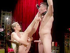 Huge tits Milf in latex whips male slave