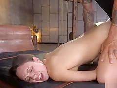 Hot slave rough doggy banged in bondage