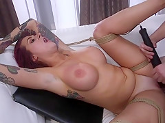Cop whips and fucks alt busty redhead