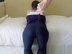 Angel Stone whipped, flogged and masturbating before business meeting