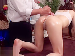 Japanese massage with college girl turned in sex