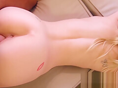 Petite babe bounces her fat ass as her pussy lips grip cock