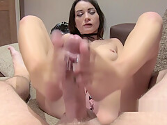 Brunette gives anal and foot job in casting