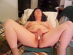 Chubby wife masturbate and fuck with husband