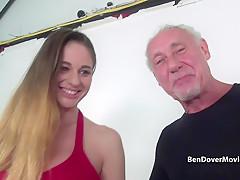 Ben Dover nails his cock deep down Cathys throat