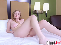 Busty blonde Jasmine shocked by interracial pounding