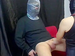sadistic nurse brutal breathplay plastic bag ballbusting gloved handjob sm