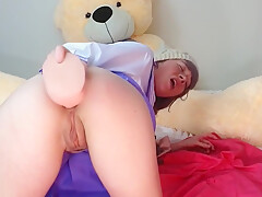 Step Daughter Gaping Her Ass with Dildo