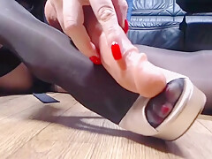 Black pantyhose red nails high heels shoejob