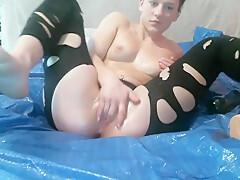 Huge dildo in wet pussy