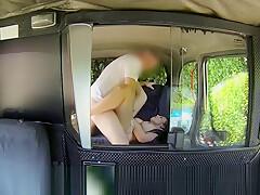 Big boobs wife blowjob and fucking in taxi