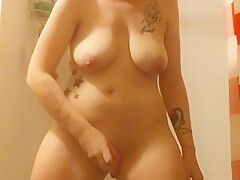 Horny wife masterbates with toys while husband is away