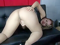 Amateur bubble butt pantyhose tease w/cumshot (Sophia Sylvan)