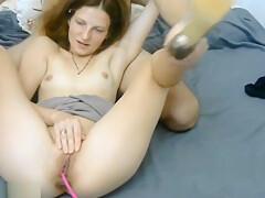 Brunette Girl Spreading Pussy Lips
