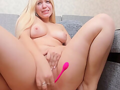 Slap this blonde's shaved pussy and play with her huge boobs pt1