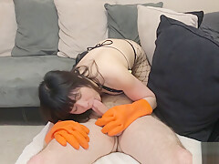 Asian Eats Ass and Fucked In Rubber Dish Maid Gloves and Fishnets