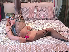 Tattooed Teen Masturbate Pussy and Ass Fuck Sex Toys in Lingerie