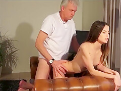 YOUNG PUSSY FUCKED BY OLD MAN AND SWALLOWS CUM