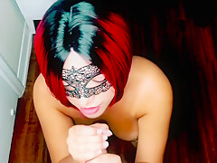 Best friends husband comes on my tits, sucking his cock while wearing mask