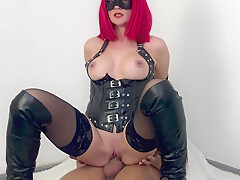 Hot big boobs milf mistress gives blowjob, handjob and gets creampie pussy