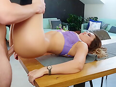 Sexy pussy licking and fucking on the table. I love rubbing cum in my face!