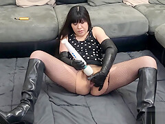 Asian Cum With Leather Gloves