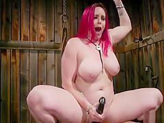 Redhead mistress hard flogs black slave
