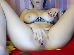 Germanybestgirl playing with a vibrator OhMiBod