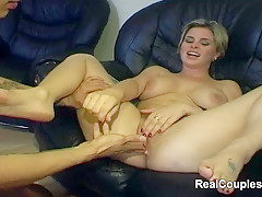 Hairy pussy girlfriend takes fast ass fuck