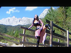 Austria Latex Dream Princess - Outdoor Blowjob Handjob with Black Latex Gloves - Cum on my Tits