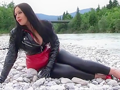 Busty PVC Lady near the River - Public Blowjob Handjob with PVC Gloves - Cum on my big Tits