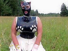 The Sweet Dirty Kitty Cat Blowjob Handjob With Cat Mask Latex Gloves Cum On My Latex Shirt...